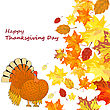 Thanksgiving Day Background With Maple Leaves. All Objects Are Separated. Vector Illustration Eps 10