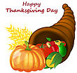 Thanksgiving Day Greeting Card. Design Consist From Cornucopia Pumpkin, Pepper, Tomato, Apple, Ears Of Wheat And Corn Over White Background. Very Cute And Warm Colors. Vector Illustration