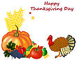Thanksgiving Day Greeting Card. Design Consist From Pumpkin, Pepper, Tomato, Apple, Grape, Corn, Maple Leaves And Turkey On White Background. Very Cute And Warm Colors. Vector Illustration stock vector