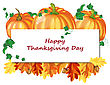 Thanksgiving Day Greeting Card White Sheet For Copy Space. Design Consist From Pumpkins, Oak Leaves And Acorns On White Background. Very Cute And Warm Colors. Vector Illustration stock vector