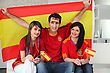 Thee Excited Spanish Soccer Fans stock image