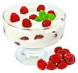 Thick Yogurt With Raspberries And Mint In A Glass Sundae Dish, Raspberries Isolated On White Background stock photography