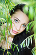 Thoughtful Young Brunette Posing In The Green Branches stock photo