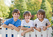 Playful Three Boys on a White Picket Fence stock photo