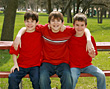 Three Brothers in Red stock photo