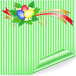 Three Easter Eggs With A Bouquet On The Green-striped Sticker stock illustration