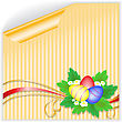 Three Easter Eggs With A Bouquet On The Yellow Striped Sticker