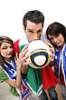 Italy Three Italian Football Supporters stock photo