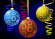 Three Multicolored Christmas-balls With Snowflakes Texture And Metallic Serpentine On Abstract Dark Background. Greeting Card. Vector Illustration. Gradient Mesh In Background Only Include