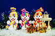 Three Snowman With A Lantern And Presents stock photo