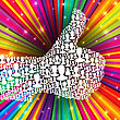 Thumb Up Symbol On Colorful Rays Background. Composed From Many People Silhouettes. Vector Illustration, EPS10