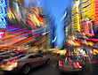 Times Square At Dusk, Defocused And Motion Blurred, Midtown New York City, Usa stock photo