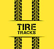 Tire Track Vector Illustration On Yellow Background