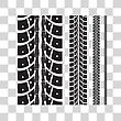 Tire Tracks Collection With Different Width. Vector Illustration On Checkered Background