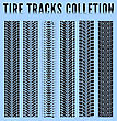 Tire Tracks Collection. Vector Illustration Blue Background