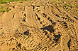 Tire Tracks Of Different Cars On The Golden Sand stock photography