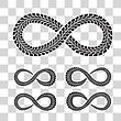 Tire Tracks In Infinity Form Vector Illustration On Checkered Background