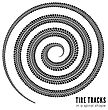 Tire Tracks In Spiral Shape. Vector Illustration On White Background