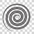 Tire Tracks In Spiral Shape. Vector Illustration On Checkered Background