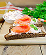 Toast Two Slices Of Rye Bread With Cream, Basil And Salmon, Knife, Napkin, Parsley On A Wooden Boards Background