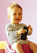 Toddlers Toddler Boy Playing With Cell Phone stock photography