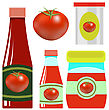 Tomato Ketchup In Glass Bottle On White Background stock vector