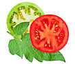 Tomato Sliced With Green Leaf stock photo