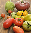 Tomatoes Assortment On Wooden Background stock photo
