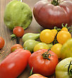 Tomatoes Assortment On Wooden Background stock photography