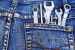 Tools Set In Blue Jeans Pocket. stock photo