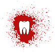 Tooth Icon Isolated On Red Splatter Background
