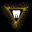Tooth Logo On Gold Parts Triangle Frame. Tooth Emblem. Tooth Icon On Blackbackground