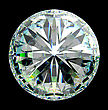 Top View Of Round Diamond With Green Sparkles Isolated Over Black stock image