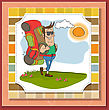 Tourist Man Traveling With Backpack stock illustration
