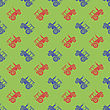 Tractor Icon Seamless Pattern On Green Background. Agricultural Transport For Farm