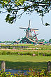 Traditional Old Windmill In Zaanse Schans, Netherlands stock photography