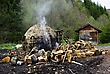 Traditional Smoky Charcoal Furnace Made Of Brick, At Mountain And In Forest. stock image