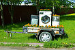 Trailer With Home Appliances. Tv And Washing Machine stock photography