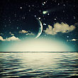 Tranquil Marine Landscape With Full Moon On The Sky stock illustration