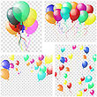 Transparent Colorful Balloons In Air On Gray Grid Background. Vector Illustration