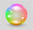 Transparent Soap Bubble. Vector Realistic Illustration On Checkered Background