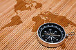 Travel Concept. Black Compass On The Abstract World Map stock image