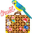 Travel Concept - Suitcase With Journey Stickers And Parrot Isolated On White Background