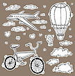 Travel And Tourism Labels Collection. Vector Hand Drawn Illustration stock vector