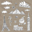 Travel And Tourism Labels Collection. Vector Hand Drawn Illustration