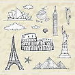Travel And Tourism Labels Collection. Vector Hand Drawn Illustration stock illustration
