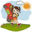 Traveling Tourist Girl With Backpack stock vector
