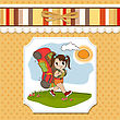 Traveling Tourist Girl With Backpack stock illustration