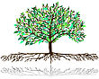 Tree Pattern With Different Color And Shape Leaves stock illustration