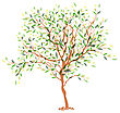 Tree. The Trunk And Leaves In Separate Layers. Vector Illustration, EPS10